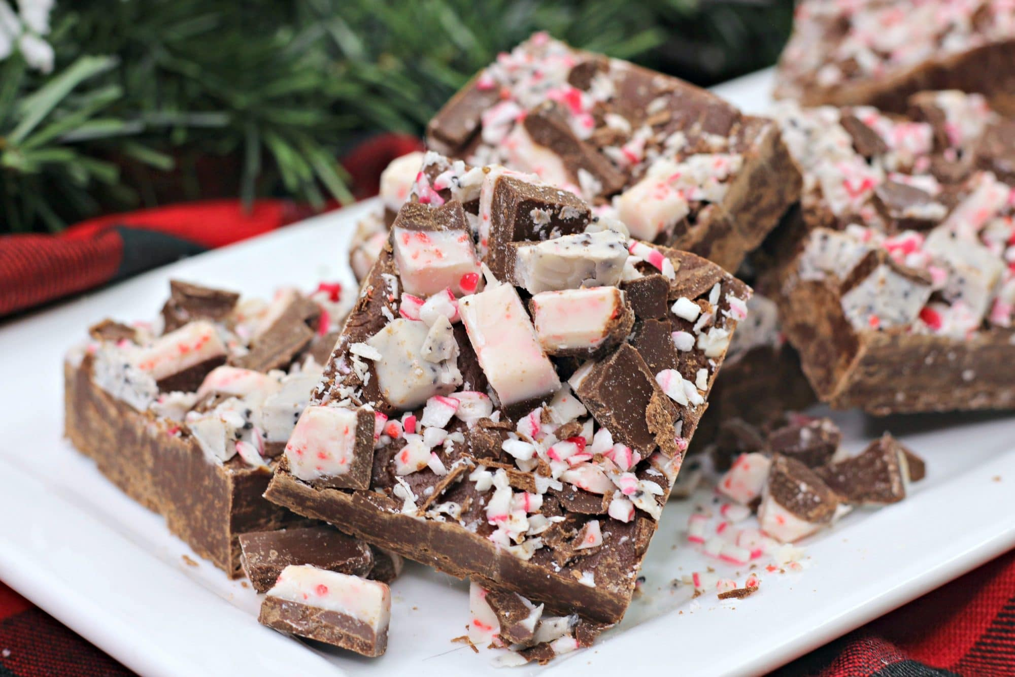 simple dish andes peppermint fudge on white plate