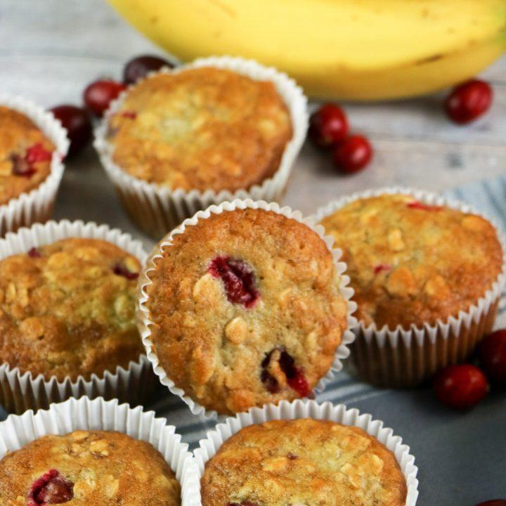Cranberry Banana Oatmeal Muffins