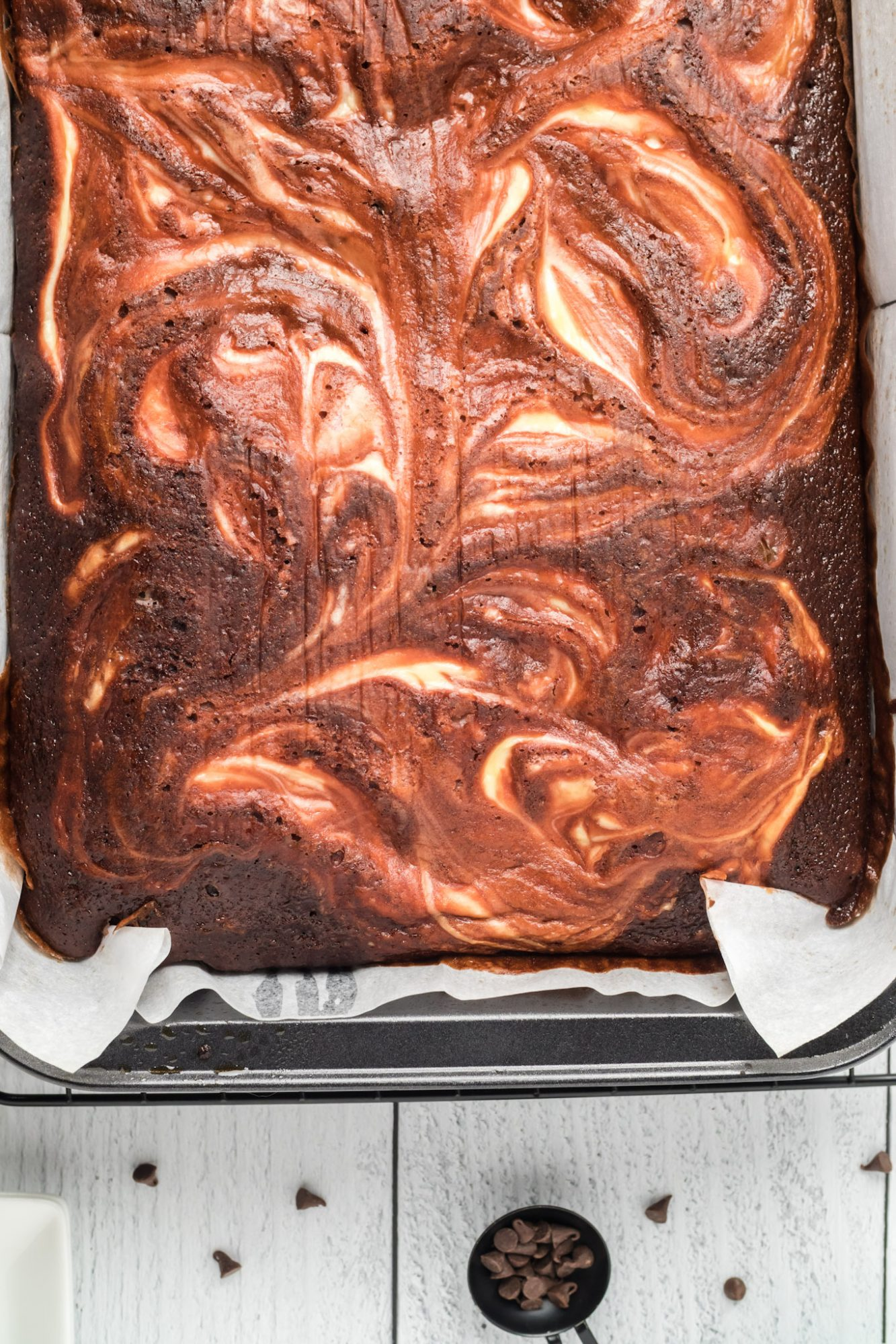 red velvet cheesecake brownies in baking pan