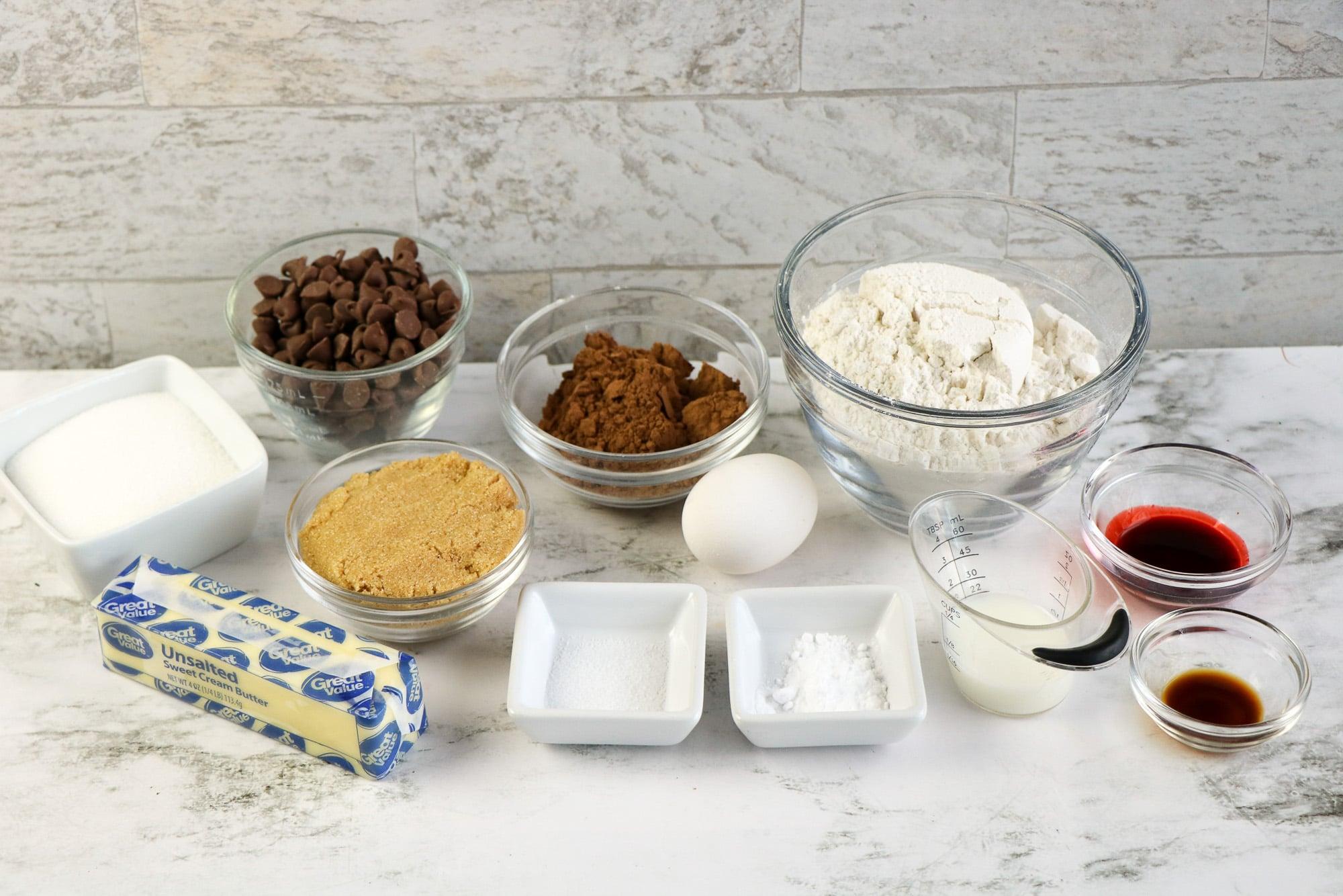 red velvet chocolate chip cookie ingredients