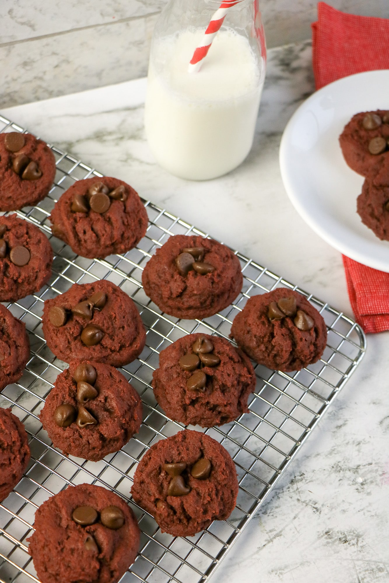 red chocolate chip cookies on cooking rack