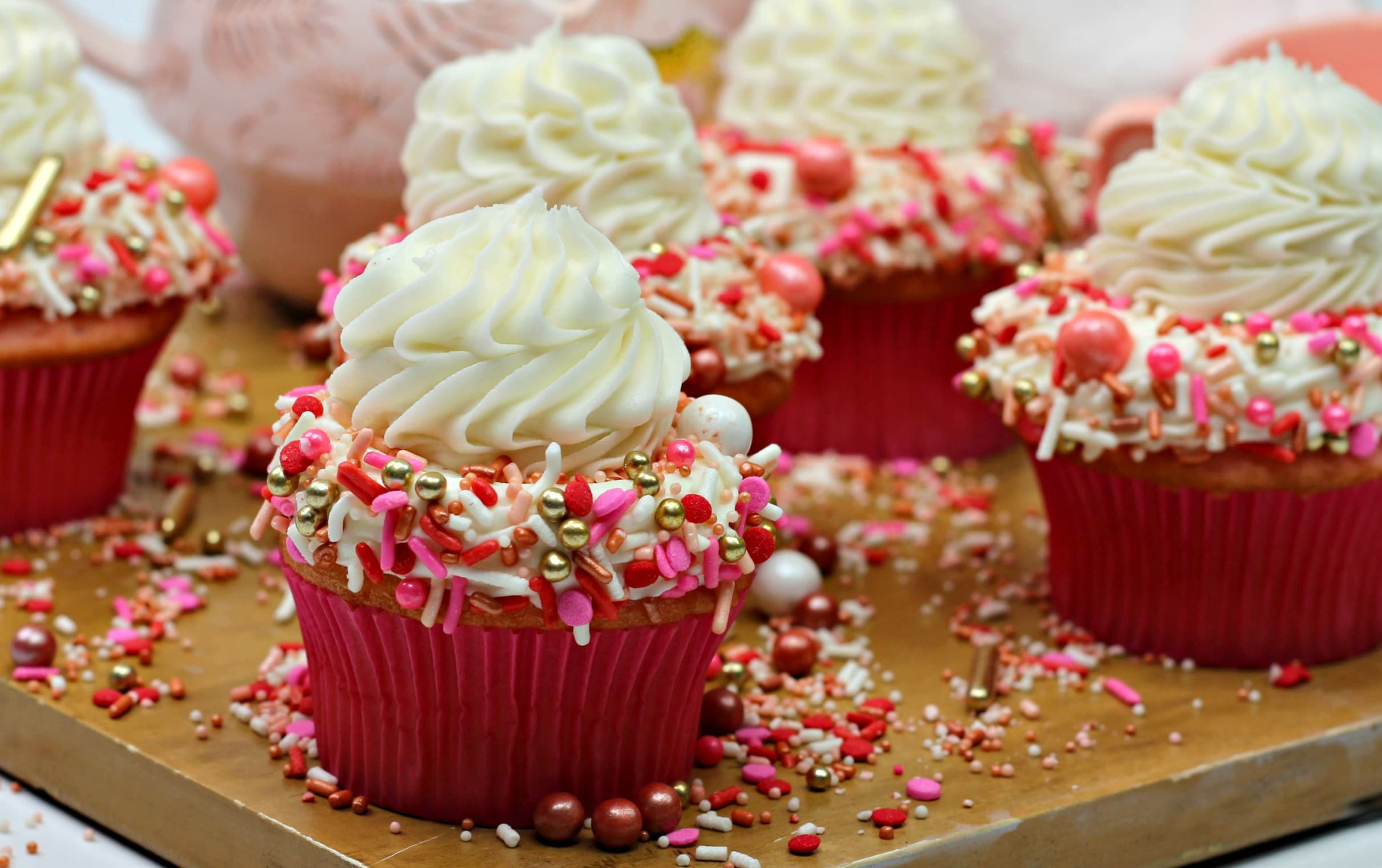 pink velvet cupcakes with cream cheese frosting