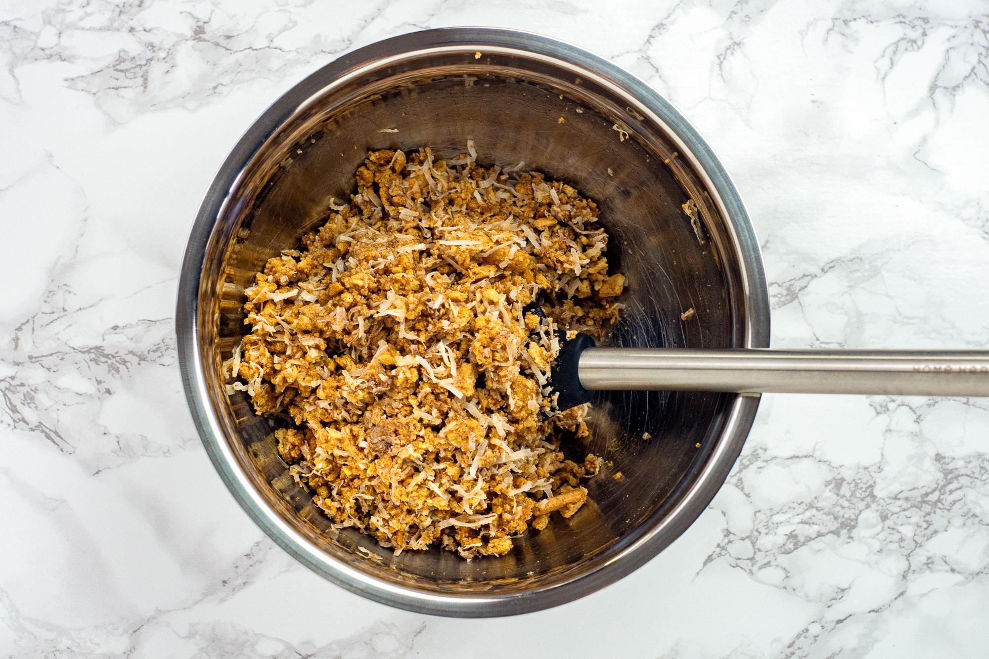 magic bar dough in mixing bowl
