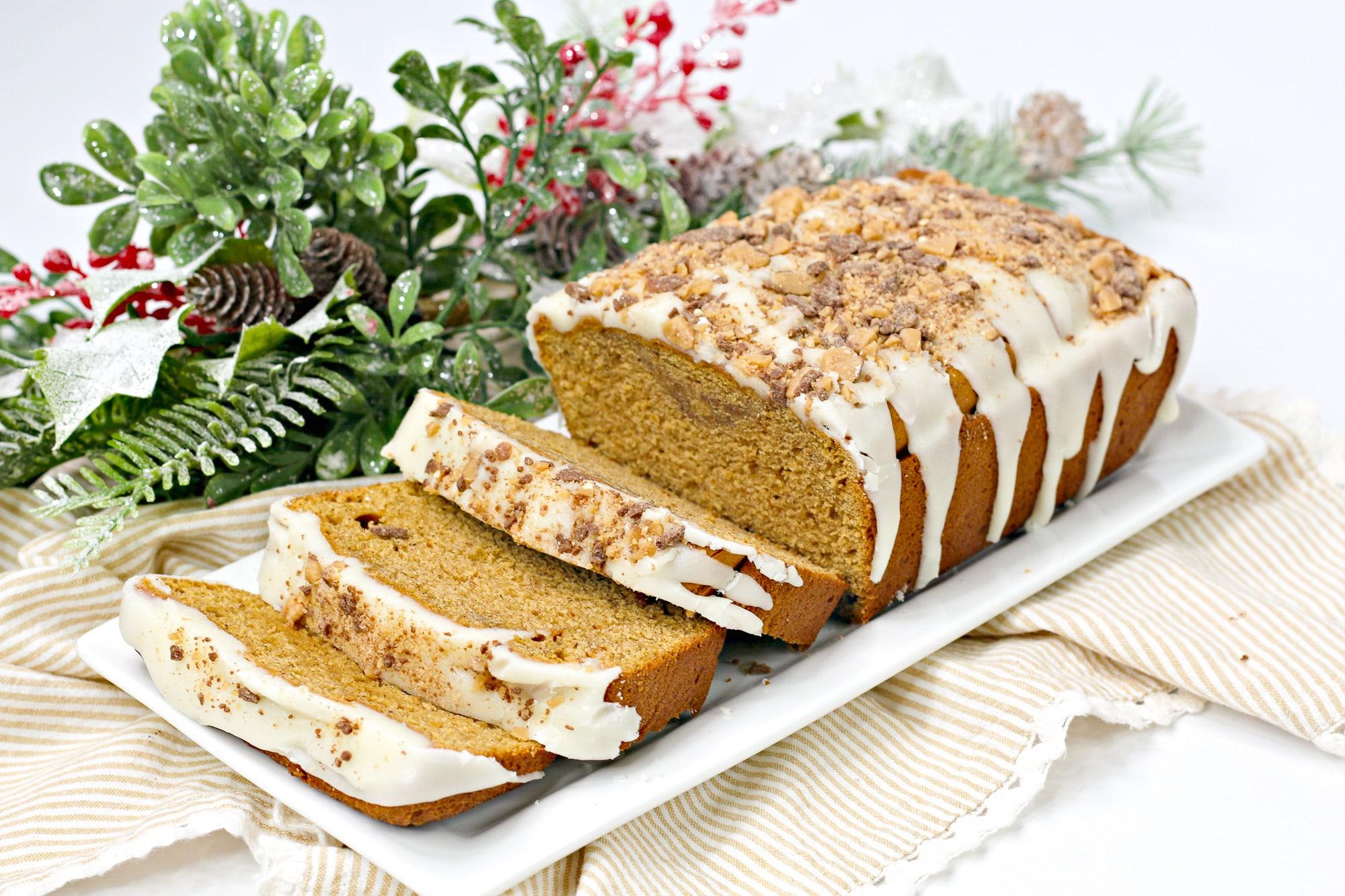Sweet potato bread sliced on white platter