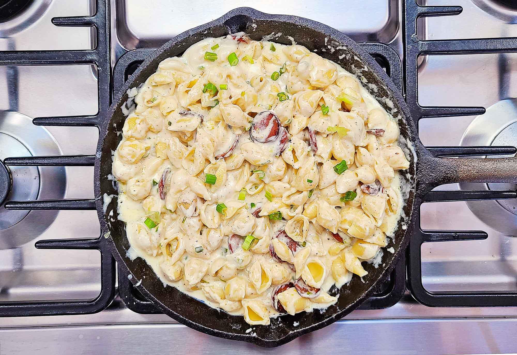 sausage pasta in skillet