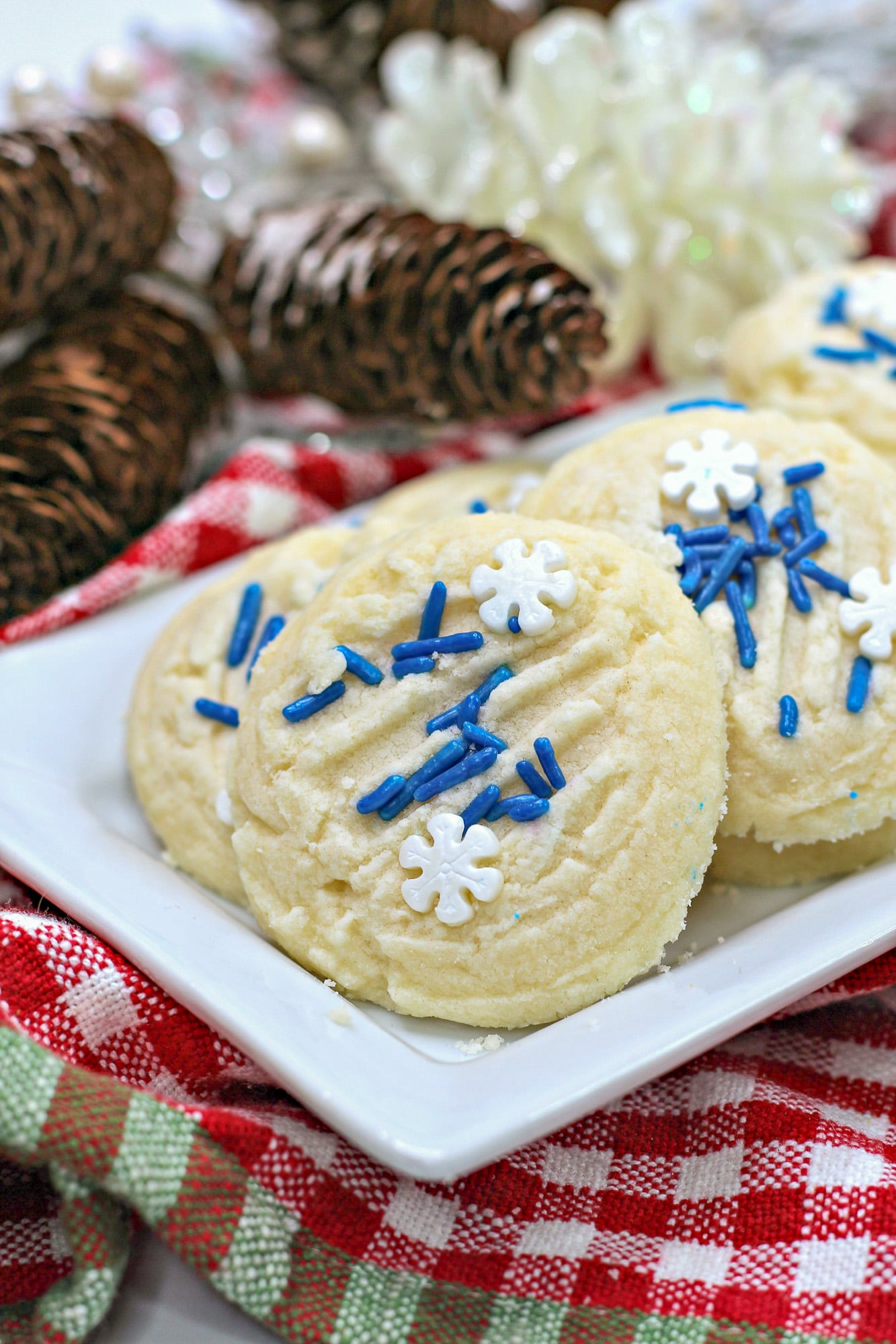 shortbread christmas cookies on white platter