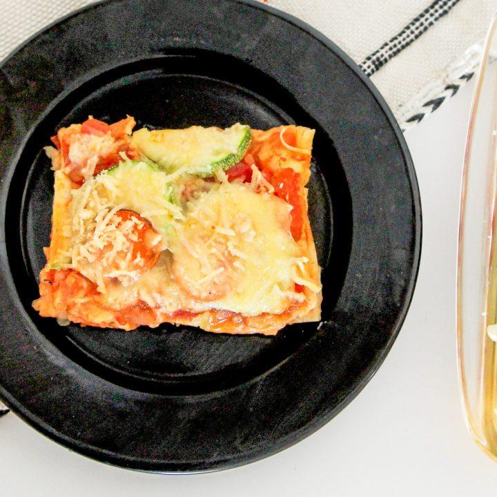 veggie lasagna slice on plate