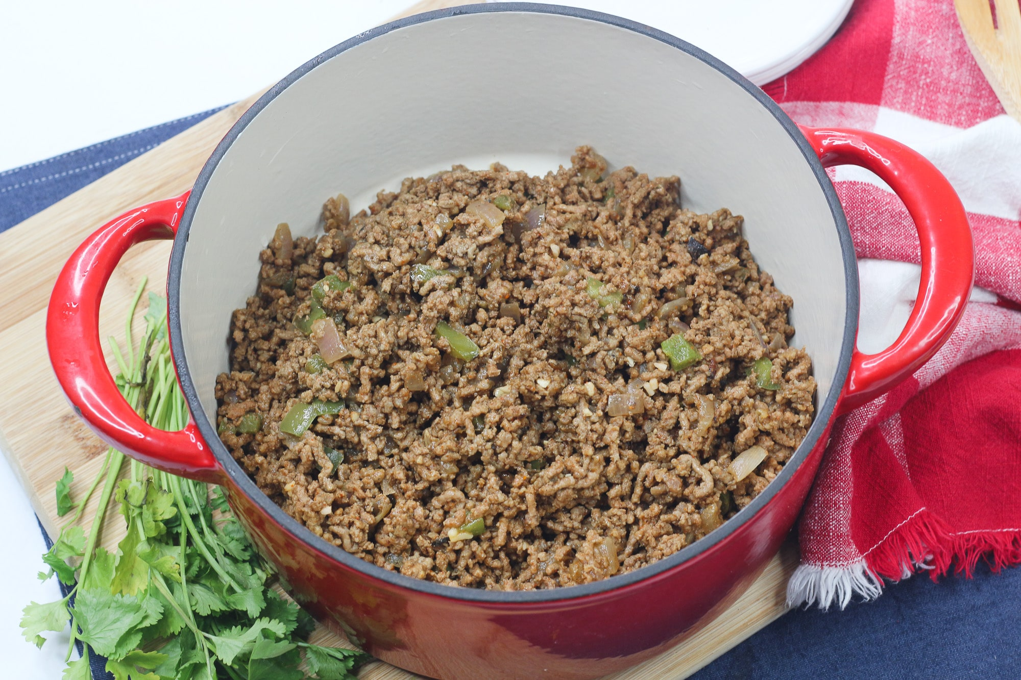 Browned ground beef in Dutch oven