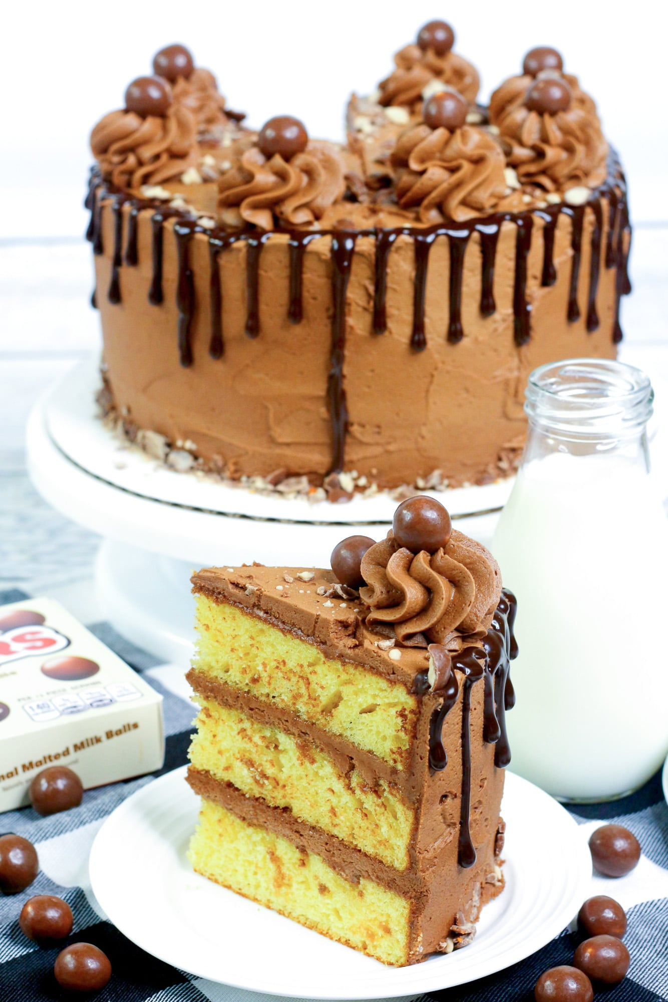 slice of yellow butter cake with chocolate frosting on a white plate