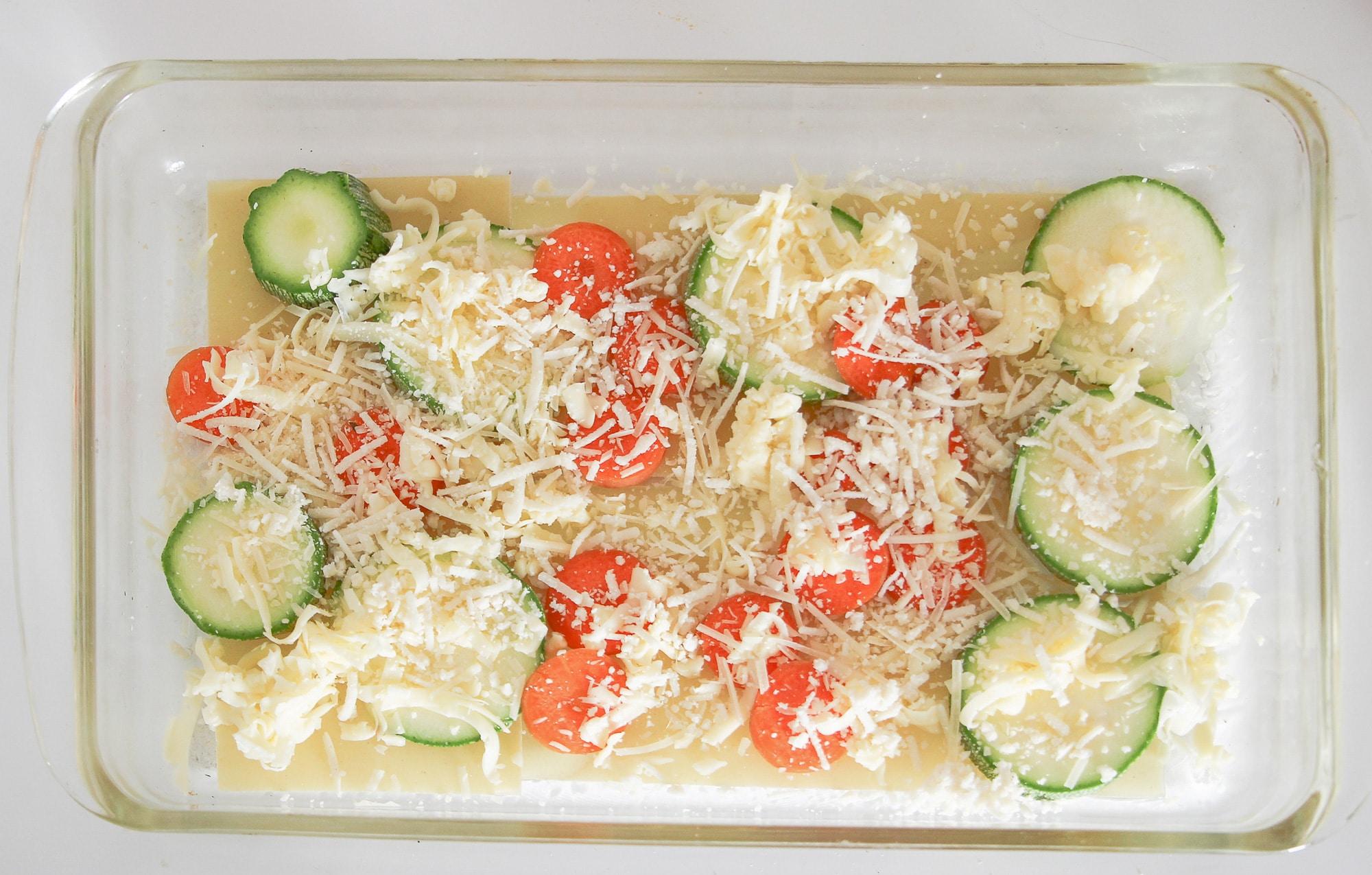 lasagna layers in pan
