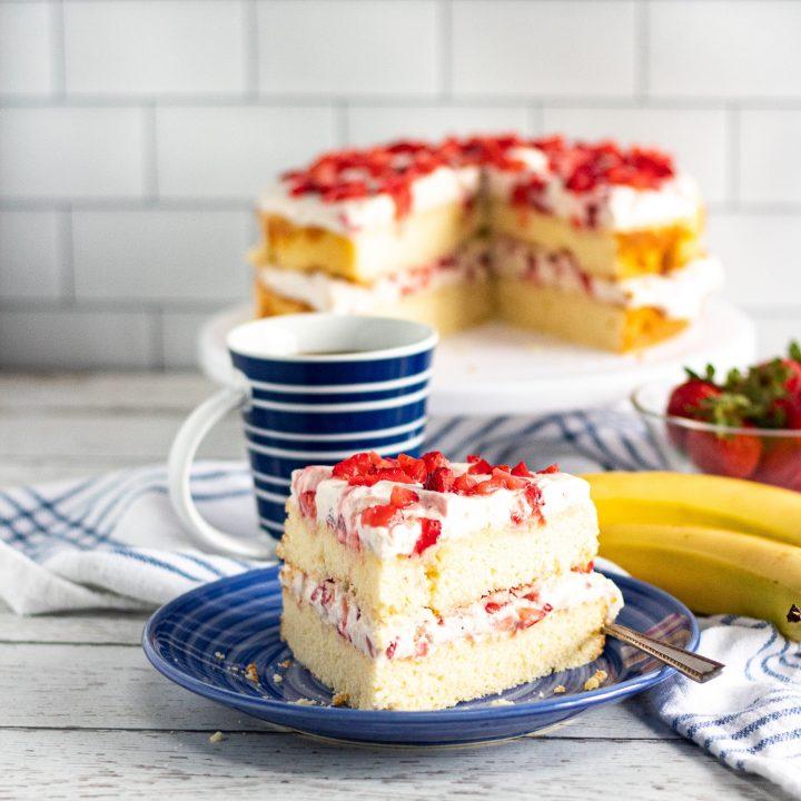 strawberry banana cake on blue plate