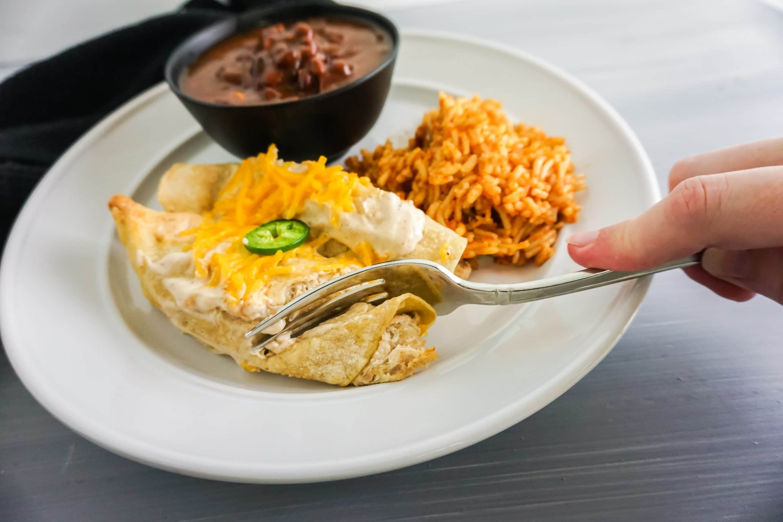 sour cream chicken enchiladas plated with spanish rice and beans on white plate