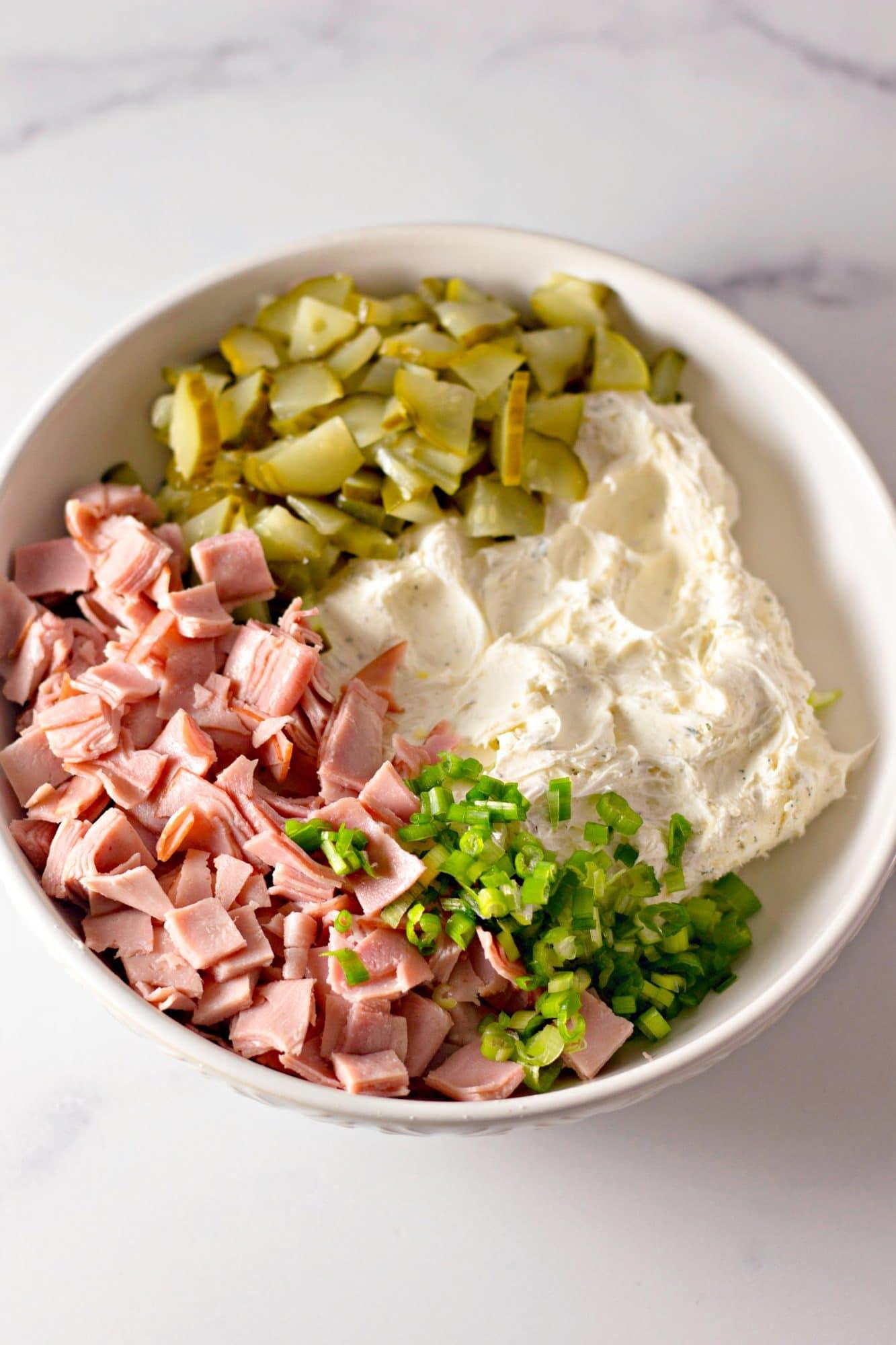 pickle ham dip ingredients in bowl
