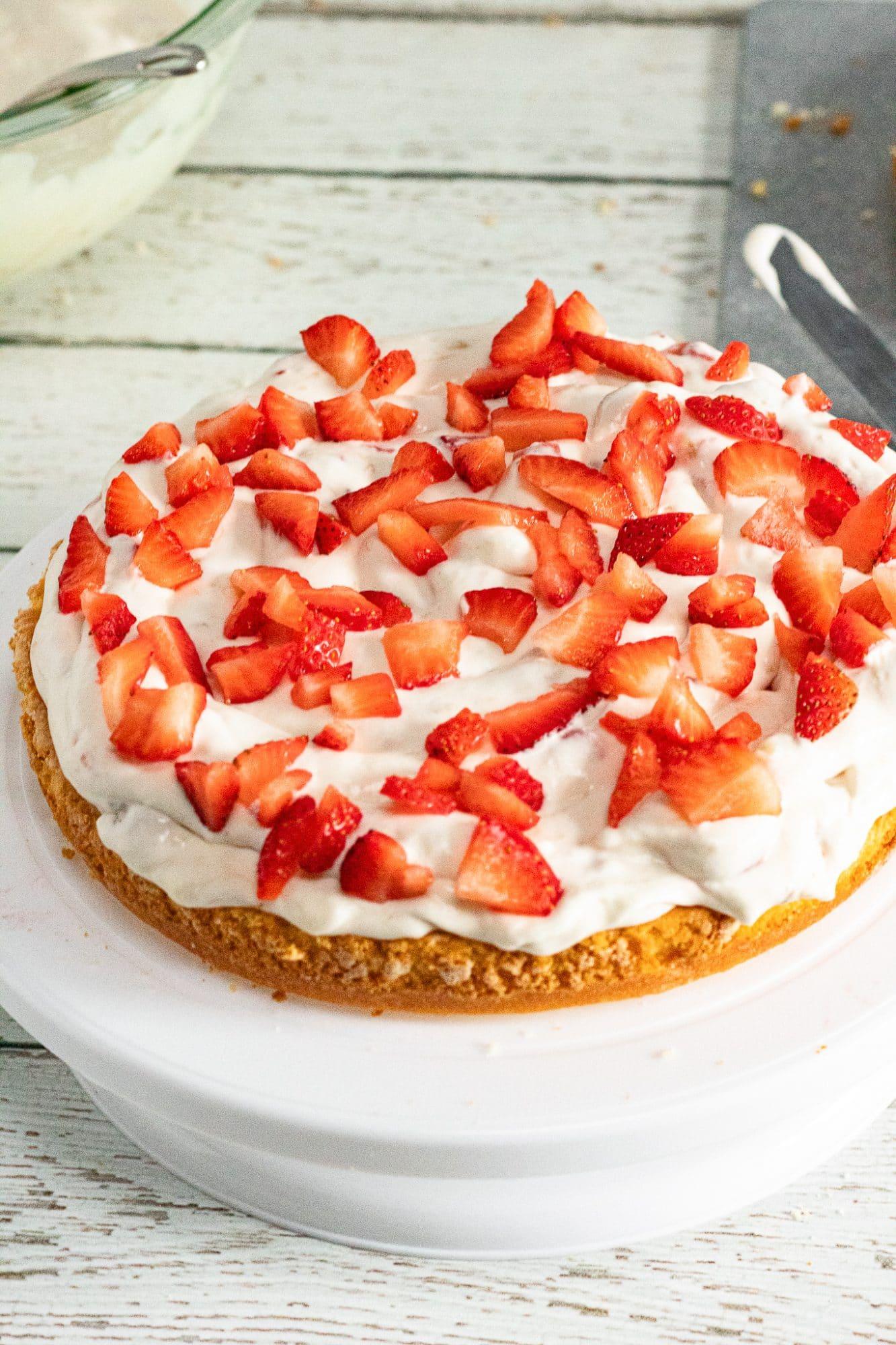 strawberry banana cake layer one