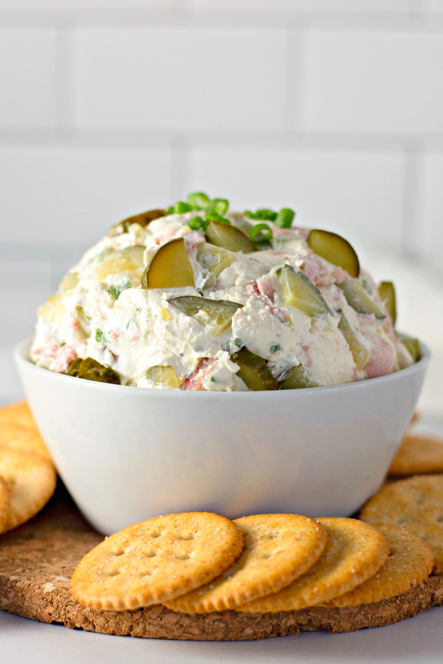 cream cheese pickle dip in white bowl