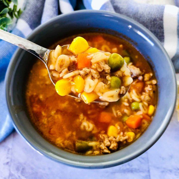 alphabet soup in bowl