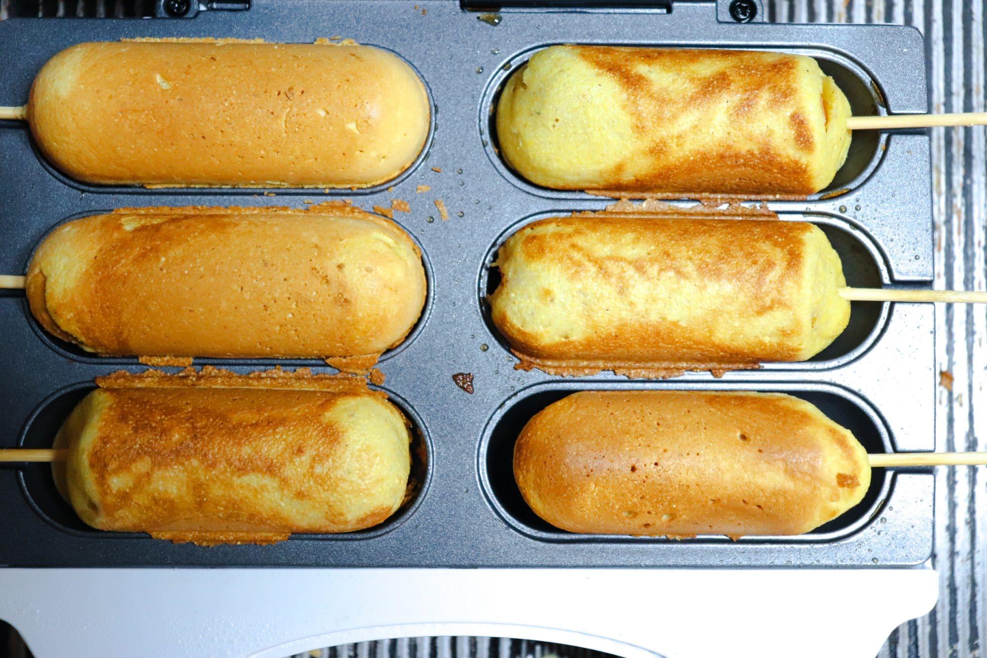 corn dogs in pan